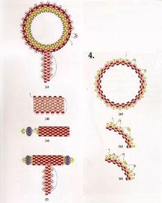 Russian tutorial, but excellent diagram. Bead Crochet Patterns, Beaded Jewelry Patterns, Peyote Patterns, Beading Patterns, Seed Bead Jewelry, Bead Jewellery, Jewellery Making, Beading Projects, Beading Tutorials