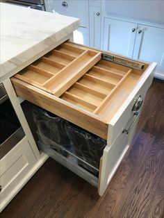 Two tiered silverware drawer above, garbage and recyclable pullout below. Kitchen Storage Solutions, Custom Kitchens, Custom Woodworking, Drawers, Furniture, Design, Home Decor, Decoration Home, Room Decor