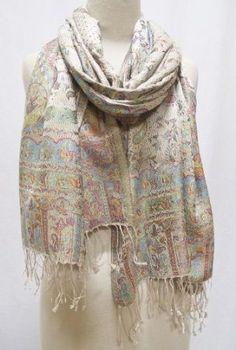 """Naseem"" Paisley Silk Scarf Shawl Stole Wrap Ivory Multi Sabira Collection. $120.00"