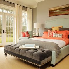spacious Bedroom, like the colors and french doors