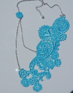 Turquoise Lace Necklace Bridal Lace Necklace Blue by OliniLaces, $37.00