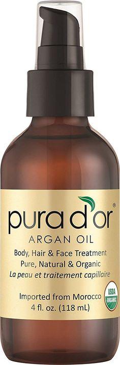 PURA D'OR Moroccan Argan Oil 100% Pure & USDA Organic For Face, Hair, Skin & Nails, 4 Fluid Ounce PURA D'OR
