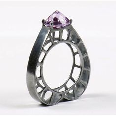 Ring | Selda Okutan. 'Sweet Heart Frame'. Oxidized sterling silver and amethyst. #ring #jewellery #design