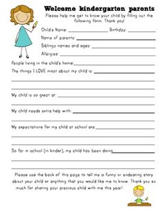 information sheets for back to school. great way to learn more about your students at the beginning of the year through the parents eyes.