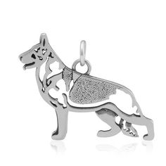 STERLING SILVER GERMAN SHEPHERD PENDANT, BODY
