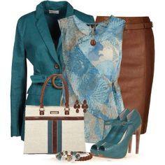 Stelletje: netjes, stijlvol, blauw en bruin, pumps