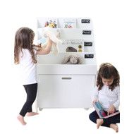 This hip kids chalkboard bookcase with Toy Storage Box is not only stylish in design but also super practical. It has 4 front facing shelves and large pullout toy box on caster wheels to store all your favourites Toy Storage Boxes, Book Storage, Toy Boxes, Kids Chalkboard, White Drawers, Bookshelves Kids, Outdoor Fun, Cool Toys, Playroom