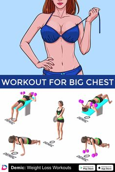 Workout for big chest - Fitness Full Body Gym Workout, Gym Workout Tips, Fitness Workout For Women, Workout Plan For Women, Butt Workout, Workout Videos, Bike Workouts, Abdominal Workout, Cycling Workout