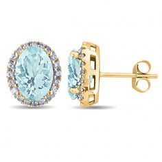 Allurez Oval Aquamarine & Halo Diamond Stud Earrings 14k Yellow Gold... ($950) ❤ liked on Polyvore featuring jewelry, earrings, yellow gold, 14k diamond earrings, 14k stud earrings, 14k gold earrings, 14k gold jewelry and 14 karat gold stud earrings