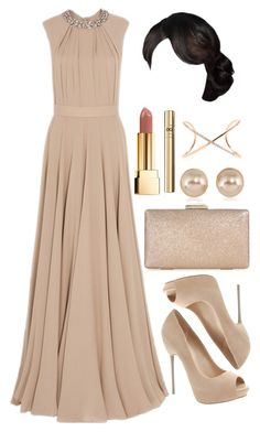 """Untitled #4117"" by natalyasidunova ❤ liked on Polyvore featuring Elie Saab, ALDO, Monsoon, Carolee, Roberto Marroni, Yves Saint Laurent and D&G"