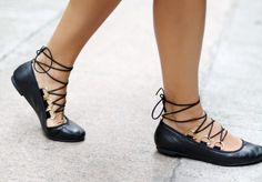DIY Lace up Ballet Flats