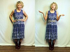 Upcycled vintage long purple boho summer floral dress womens size small. $19.47, via Etsy.
