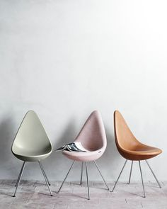 The Drop Chair designed by Arne Jacobsen in 1958 for the SAS Royal Hotel in Copenhagen, reintroduced in 2014 by Republic of Fritz Hansen with updated materials and methods
