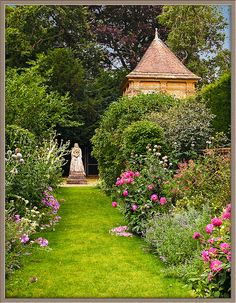 The gardens of Athelhampton House in Dorset, UK - Athelhampton is one of the finest 15th century manor houses and is surrounded by one of the great architectural gardens of England.