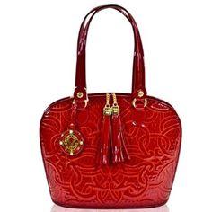 Valentino Orlandi Italian Designer Embroidered Red Leather Satchel Bag