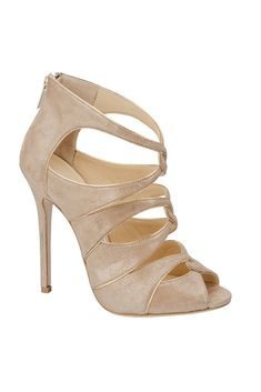 Taupe suede Jimmy Choo peep-toe booties with zip closures at counters and covered heels. Pretty Shoes, Beautiful Shoes, Cute Shoes, Me Too Shoes, Shoe Boots, Shoes Heels, High Heels, Stilettos, Pumps