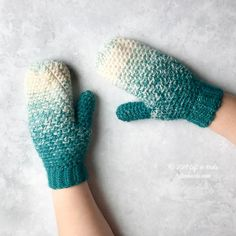 """""""These textured mittens use Lion Brand Scarfie yarn and work up easily! Use less than one skein of Lion Brand Scarfie or your favorite worsted weight yarn to make a pair for yourself. The pattern includes a photo tutorial to help you with the cuff. Crochet Mittens Pattern, One Skein Crochet, Crochet Car, Crochet Gloves, Beanie Pattern, Crochet Hooks, Free Crochet, Crochet Patterns, Crochet Beanie"""