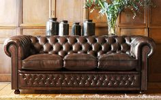 pintuck leather couch