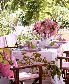 Easter or any Spring time occasion to eat outdoors. The pastel pinks make this relaxing and vintage feeling.