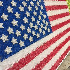 String Art: American Flag Wall Art Red by JOCoriginalcreations American Flag Wall Art, String Art, Winter Time, Red White Blue, Diy Art, Flower Arrangements, Art Projects, Crafty, Crochet