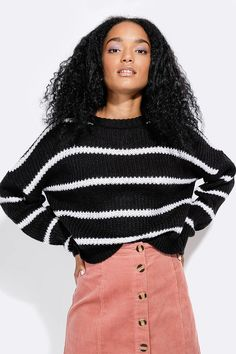 Stripe Boxy Pullover - Ladies New In - What's New Lightweight Cardigan, Fashion News, Knitwear, Turtle Neck, Street Style, Pullover, Lady, Long Sleeve, Clothing