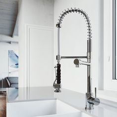 VIGO Zurich Chrome Deck Mount Pull-Down Handle/Lever Commercial/Residential Kitchen Faucet at Lowe's. The VIGO Zurich Pull-Down spray kitchen faucet and deck plate in chrome is cool and comfortable; this faucet features an easy-grip comfort handle, making Kitchen Pulls, Kitchen Sink Faucets, Kitchen Handles, Bathroom Faucets, Kitchen Mixer, Thing 1, Gold Chrome, Faucet Handles, Commercial Kitchen