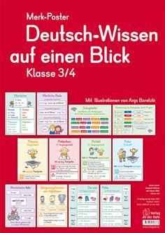Merk-Poster - Deutsch-Wissen auf einen Blick - Klasse 3/4 ++ #Organisationsmaterial für den #Deutschunterricht an Grundschulen ++ Ob Wortarten, wörtliche Rede, Steigerungs- und Zeitformen oder die vier Fälle – diese 12 übersichtlichen und zugleich dekorativen Poster geben blitzschnell Antworten auf die häufigsten Fragen der Schüler– und lassen sich flexibel und lehrwerksunabhängig einsetzen.