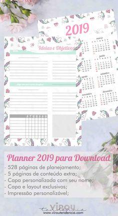 Planner 2019 para Imprimir - Planeje seu ano e organize seu dia a dia com nossos printables de planner 2019 para download. Kikki Planner, Agenda Planner, Teacher Planner, Planner Pages, Life Planner, Planner Stickers, Planner 2018, Planner Ideas, Diy Calendar