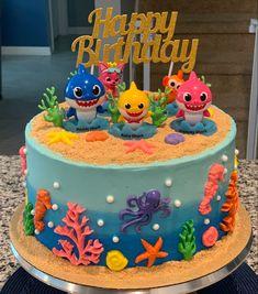 Shark Party Decorations, Girl Birthday Decorations, Birthday Ideas, Shark Birthday Cakes, Baby Boy 1st Birthday Party, Happy Birthday Grandson Images, Bolo Mickey, Ocean Cakes, Shark Cake