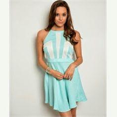SKY BLUE & WHITE HALTER ROMPER DRESS Sky blue & white halter back romper sz large Dresses Midi