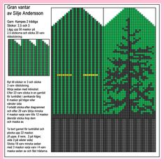 Mönsterstickade gran vantar (in Swedish with chart) Knitted Mittens Pattern, Knit Mittens, Knitted Gloves, Knitting Socks, Hand Knitting, Knitting Charts, Knitting Stitches, Knitting Designs, Knitting Projects