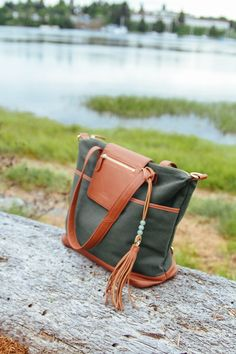 Absolutely love Madeline in Forest Green canvas with Camel trim. Click here to see other eye catching bags here.