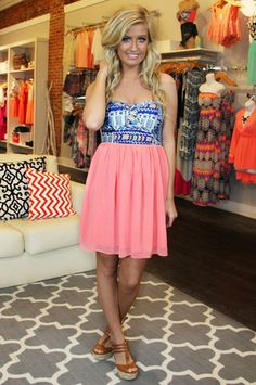 64f2344bb Strapless Coral Dress with Tribal Print Bust