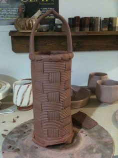 Tall pottery basket - gallagher pottery
