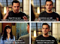 """New Girl """"Where do you get the words?"""" Nick sharing his feelings to Jess. Nick Miller, Tv Show Quotes, Movie Quotes, New Girl Nick And Jess, New Girl Funny, New Girl Quotes, Jessica Day, Hey Girl, Best Shows Ever"""