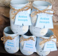 Painted Mason Jars with Personalized Baby Boy by charmcitycharm