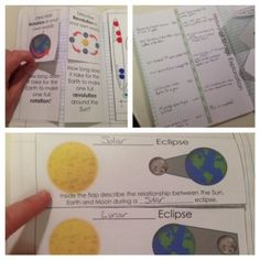 Rotation and Revolution science journal. Printable Interactive notebook pages