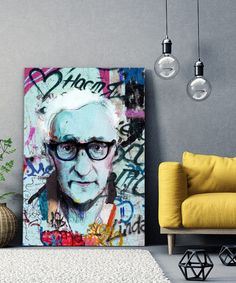 tableau-deco-woody-allen-street-art-4 Woody Allen, Tableau Pop Art, Street Art, Portrait, Decoration, Painting, Canvas, Decor, Men Portrait