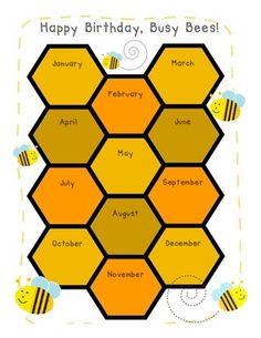 Busy Bees Birthday Chart poster ($)