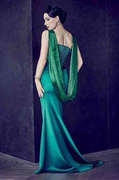 Alexis Mabille Haute Couture Abitolungo Green With Beads Decorative