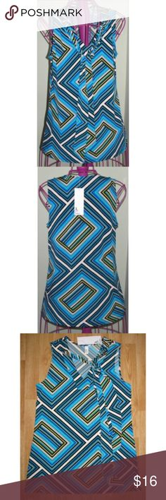 "NWT Jules & Leopold striped tie Tunic Top Blouse Beautiful new with tags Jules & Leopold sleeveless tunic top in size S. Nice for career, casual, or can be dressed up. V neck with a tie - it can either be tied at the neck or let down like a scarf. Multi-colored (green, blue, white, black, yellow) geometric print. Measures about 28"" long, and 18"" under the arms across the front. It has a lot of stretch to it. Jules & Leopold Tops Blouses"