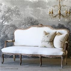 Eloquence One of a Kind Vintage Settee Louis XV Smoky Cinnamon