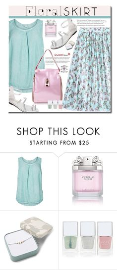 """""""The Perfect Summer Floral Skirt"""" by beebeely-look ❤ liked on Polyvore featuring JunaRose, Victoria's Secret, FOSSIL, Nails Inc., Jennifer Lopez, pastels, sammydress, Floralskirts, summersandals and plus size clothing"""