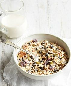 World's best homemade muesli ever by Michelle Bridges  (Serves 8)  2 cups oats  1/3 cup sunflower seeds  1/3 cup pumpkin seeds (pepitas)  ¼ cup dried cranberries  ¼ cup dried currants  1/2 cup almonds, roughly chopped  2 tbsp wheatgerm