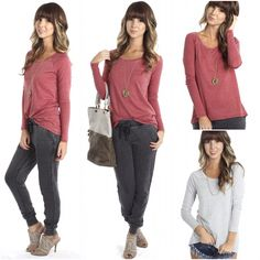 """FABULOUS new """"long sleeve tee"""" in rhubarb & grey for $24.00 available at #4thandocean paired with our new """"low rise joggers"""" ($32.99) available at #sophieandtrey and all online at www.sophieandtrey.com! #casual #ootd #newarrival"""