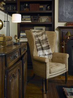 Sweet Little Woven Linen Wing Chair And French Chest