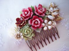 FROSTED ROSES Haircomb for the Beautiful Bride Vintage Gaeden Wedding Romantic Shabby Chic. $74.00, via Etsy.