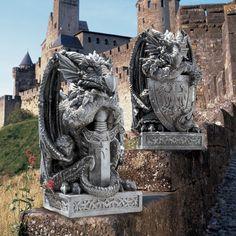 The Arthurian Dragon Sword and Shield Statue