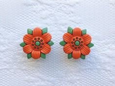 "Orange and Green Flower Vintage Style Pair Plugs Gauges Size: 00g (10mm), 1/2"" (12mm), 9/16"" (14mm) by PorcupineSpines"
