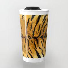 Tiger fur skins digital painting Travel Mug #travelmugs #Leopard #albinoleopard #tiger #lion #hyenas #hyaenas #cat #animals #jaguar #Tigerskins